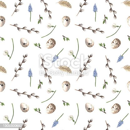 istock Seamless spring pattern with eggs. 1305300652