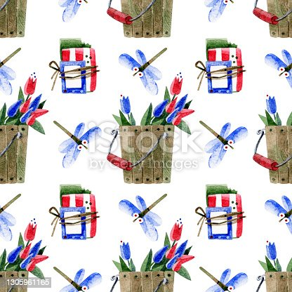 istock Seamless spring pattern with garden tools and dragonflies. Cute, funny, cartoon flying insects, seeds in a pack and a wooden bucket with tulips. Watercolor color illustrations on a white background. 1305961165