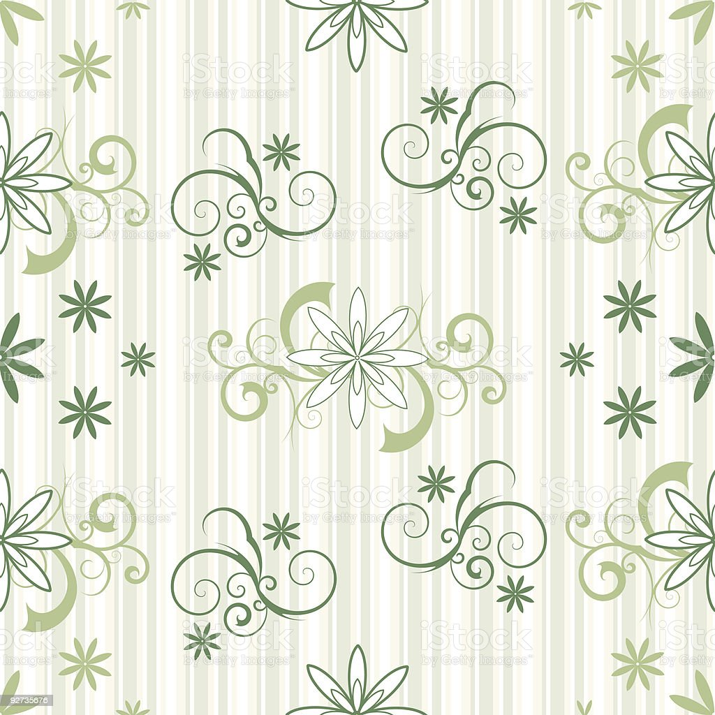 Seamless Sripes and Flowers vector art illustration
