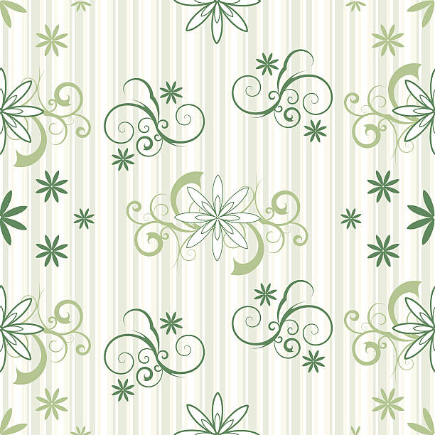 Seamless Sripes and Flowers vector art illustration