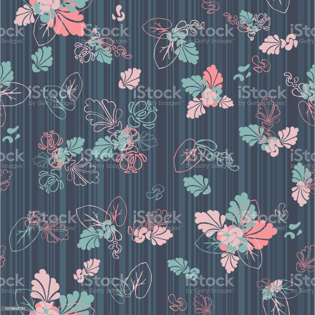Seamless Striped Texture With Painted Flowers Wallpaper Floral Background Royalty Free