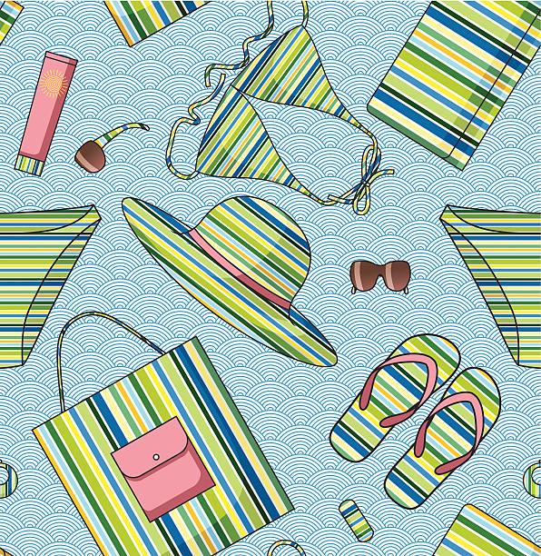 sommer strand nahtlose muster - paararmbänder stock-grafiken, -clipart, -cartoons und -symbole