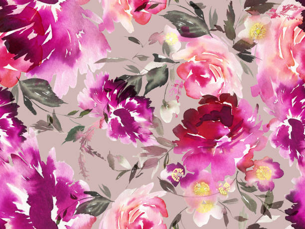 Seamless summer pattern with watercolor flowers handmade Seamless summer pattern with watercolor flowers handmade. delicate arch stock illustrations