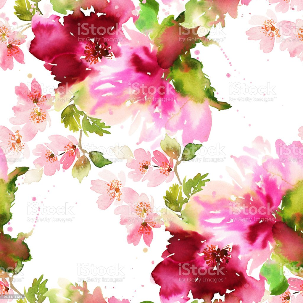 Seamless summer pattern with watercolor flowers handmade. vector art illustration