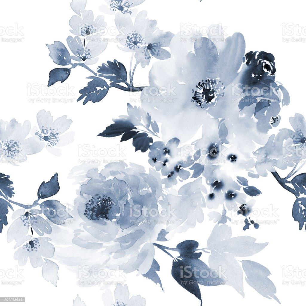 Padrão de Verão sem costura com aquarela flores artesanais - ilustração de arte em vetor