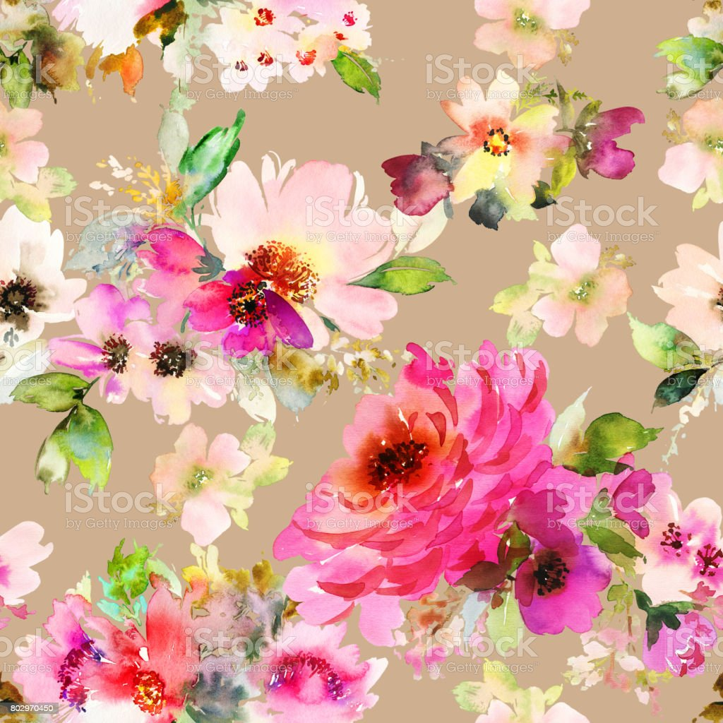 Seamless summer pattern with watercolor flowers handmade vector art illustration