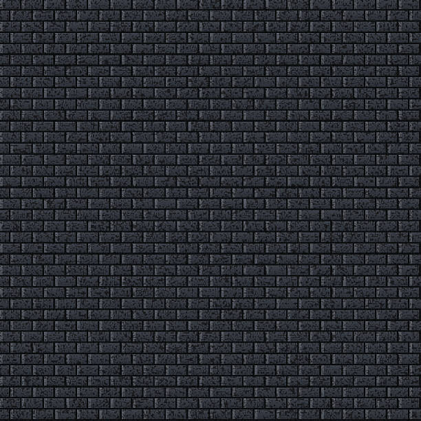 Seamless texture. 1 credits. Brick wall noise effect black background vector art illustration