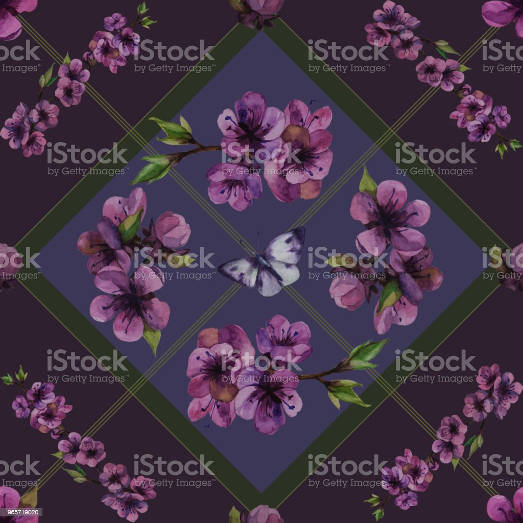 seamless texture pattern background cherry blossom isolated - Royalty-free Abstract stock illustration