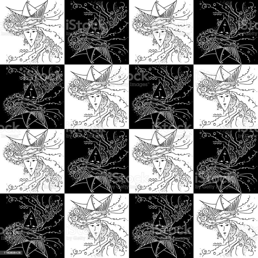 Texture Sans Couture Zodiaque Signe Verseau Noir Et Blanc