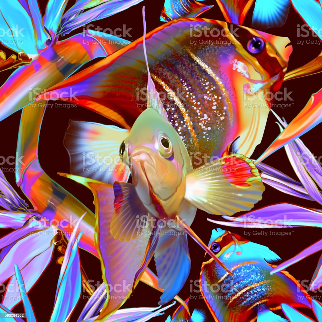 Seamless tropical pattern with fish and strelitzia royalty-free seamless tropical pattern with fish and strelitzia stock vector art & more images of abstract