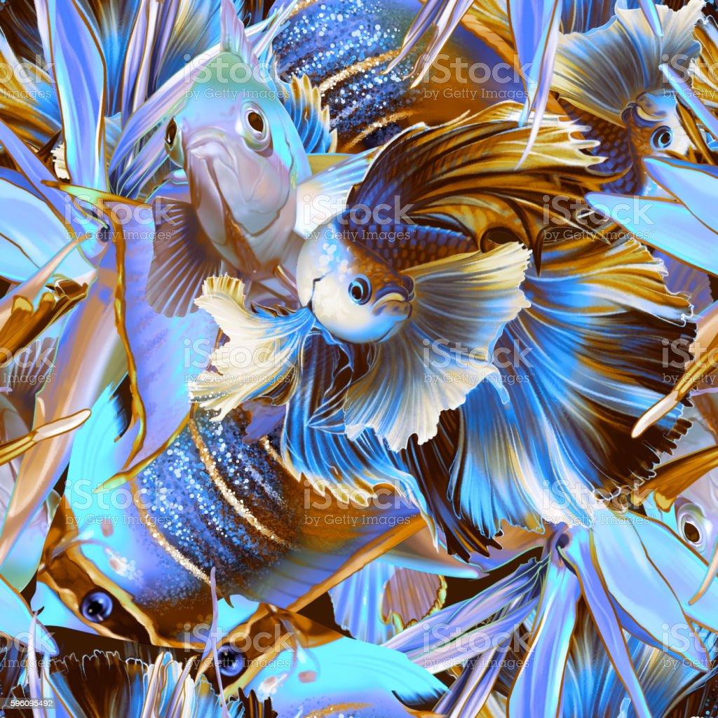 Seamless tropical pattern with fish and strelitzia Lizenzfreies seamless tropical pattern with fish and strelitzia stock vektor art und mehr bilder von bildhintergrund