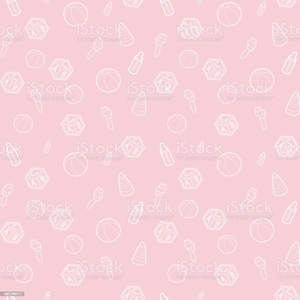 Seamless Vector Baby And Pregnancy Pattern With Pink Line Art Icons Background For Dress Manufacturing Wallpapers Prints Gift Wrap And Scrapbook Stock Illustration Download Image Now Istock