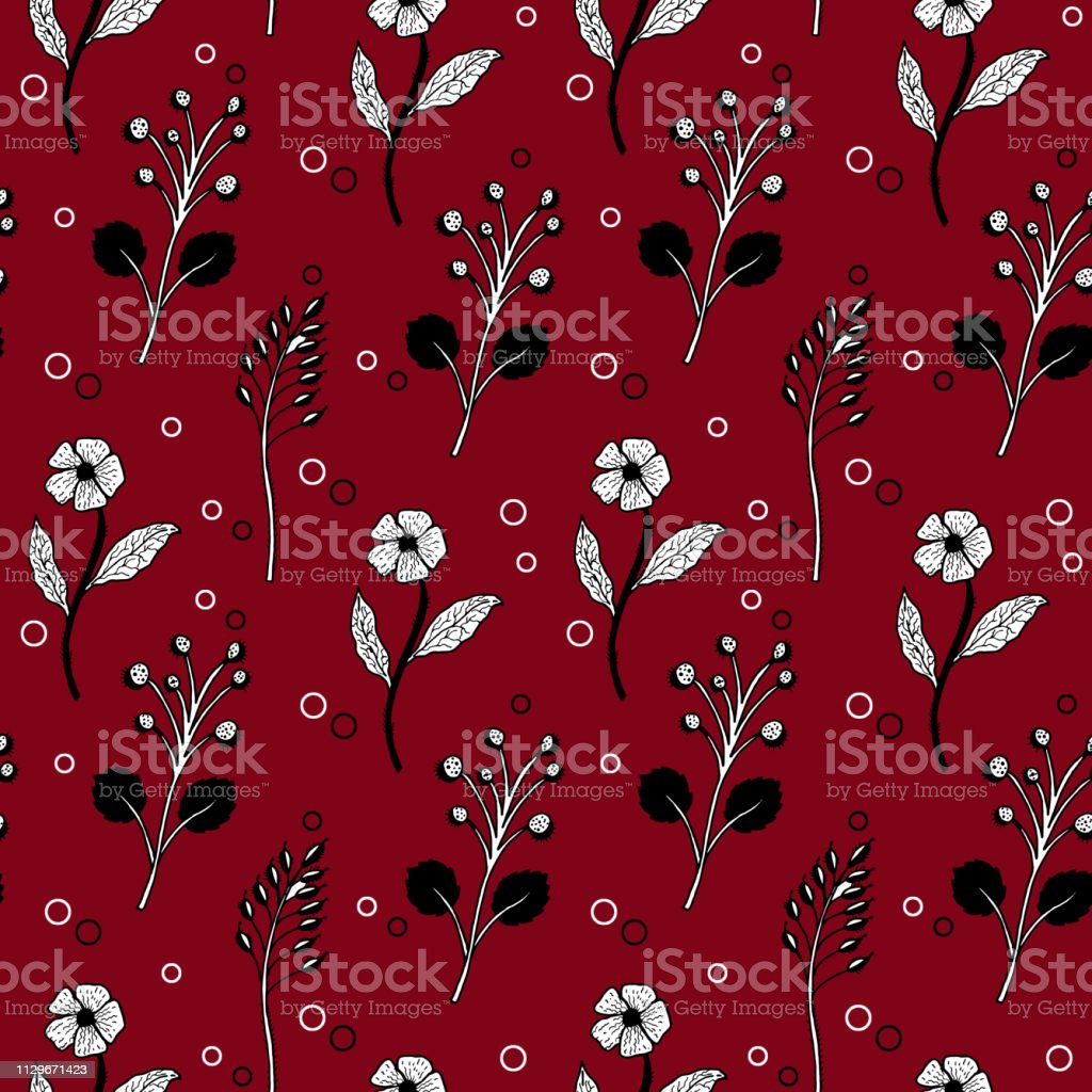 seamless vector black and white floral pattern bordo векторная иллюстрация