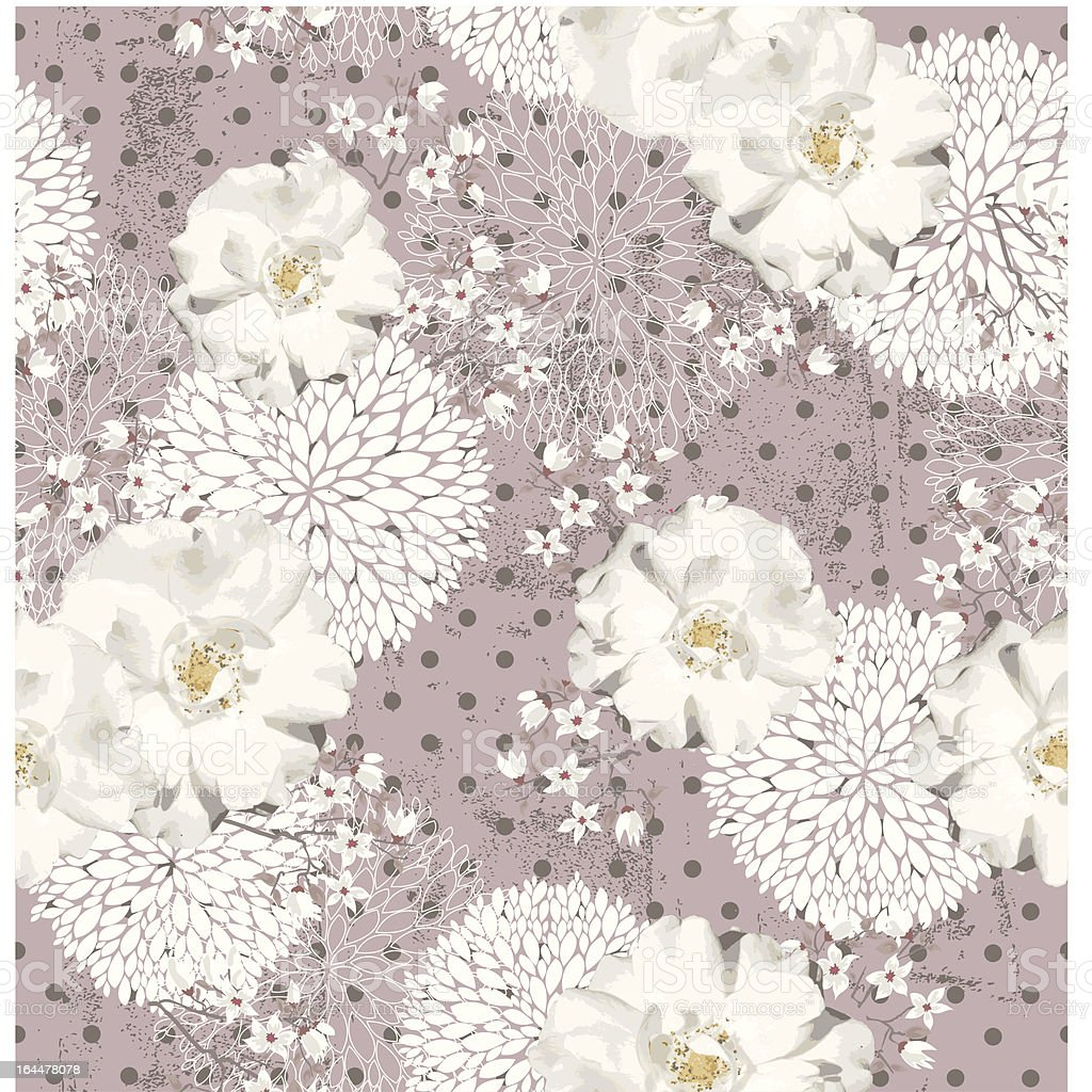 Seamless vintage pattern with flowers royalty-free stock vector art