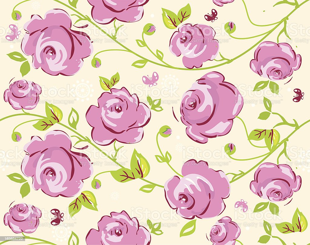 Seamless Wallpaper Pattern With Of Collection Red Roses Royalty Free