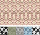 Vines-motif seamless wallpaper pattern in 6 color schemes.