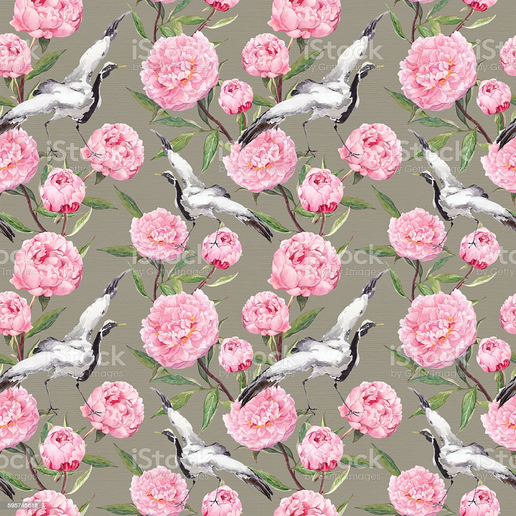 Seamless Wallpaper White Crane Birds Dance Pink Flowers Floral Stock