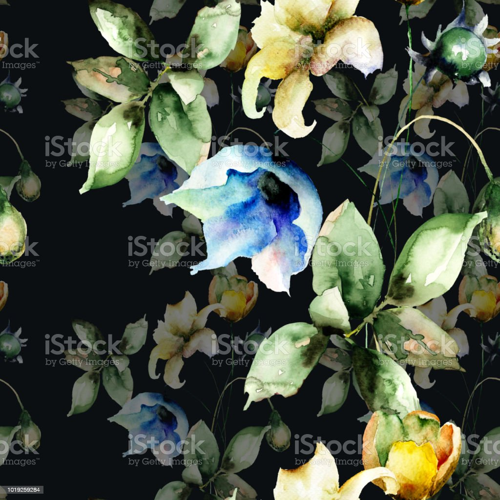 Seamless Wallpaper With Beautiful Flowers Stock Vector Art More
