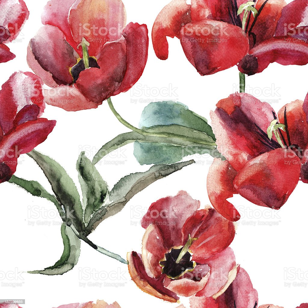 Seamless wallpaper with beautiful tulips flowers stock vector art seamless wallpaper with beautiful tulips flowers royalty free seamless wallpaper with beautiful tulips flowers stock izmirmasajfo