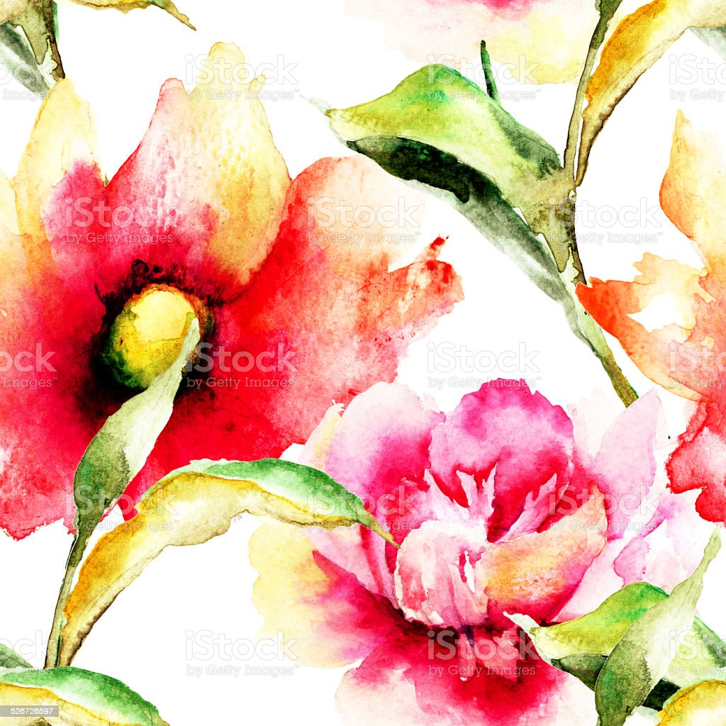Seamless Wallpaper With Colorful Flowers Stock Vector Art & More ...