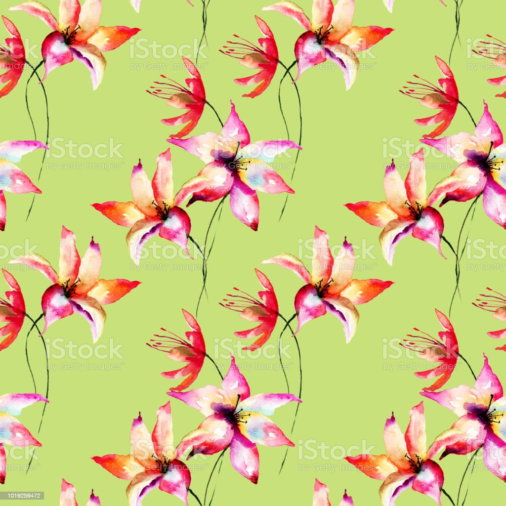 Seamless wallpaper with lily flowers stock vector art more images seamless wallpaper with lily flowers royalty free seamless wallpaper with lily flowers stock vector art izmirmasajfo