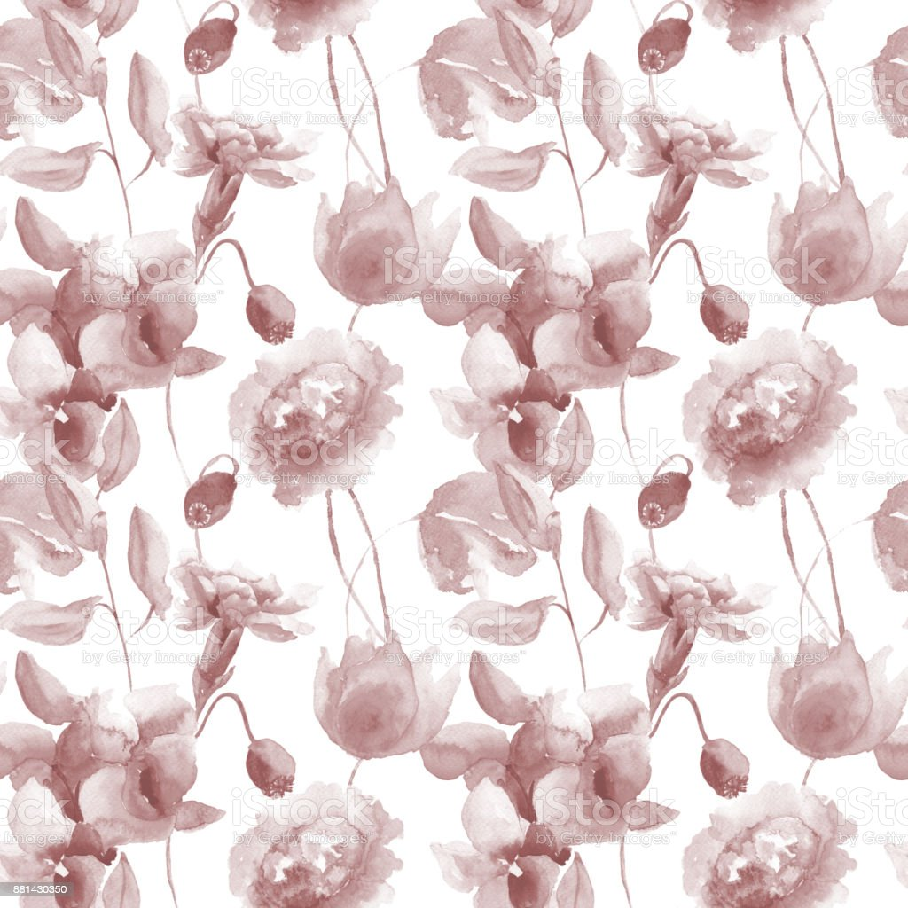 Seamless Wallpaper With Peony And Orchid Flowers Stock Illustration Download Image Now Istock