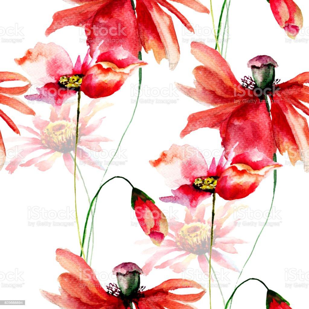 シームレス壁紙ポピーとガーベラの花 イラストレーションのベクター