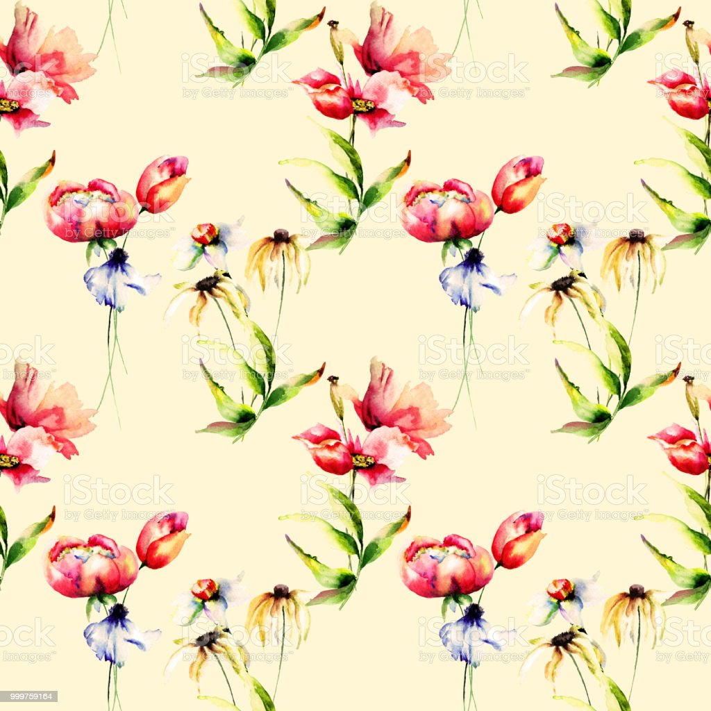 Seamless Wallpaper With Spring Flowers Stock Vector Art More