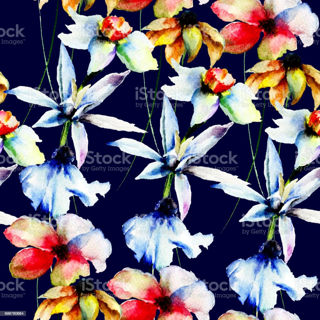 Seamless Wallpaper With Spring Flowers Royalty Free Stock Vector Art
