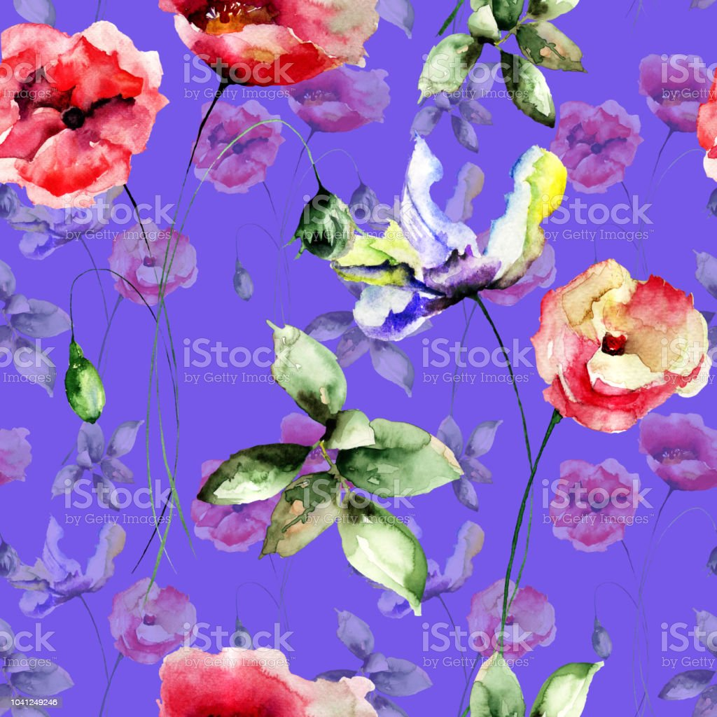 Seamless Wallpaper With Summer Flowers Royalty Free Stock Vector Art