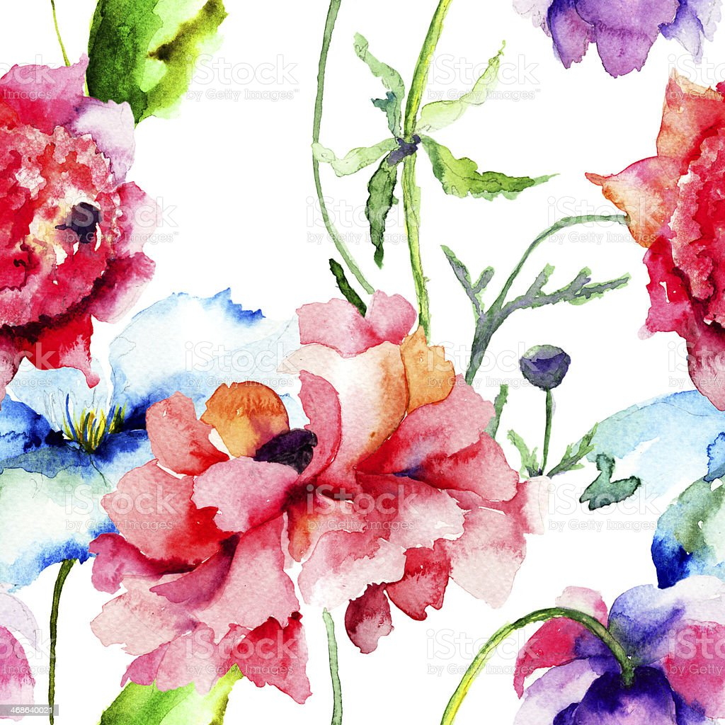 Seamless wallpaper with summer flowers royalty-free stock vector art