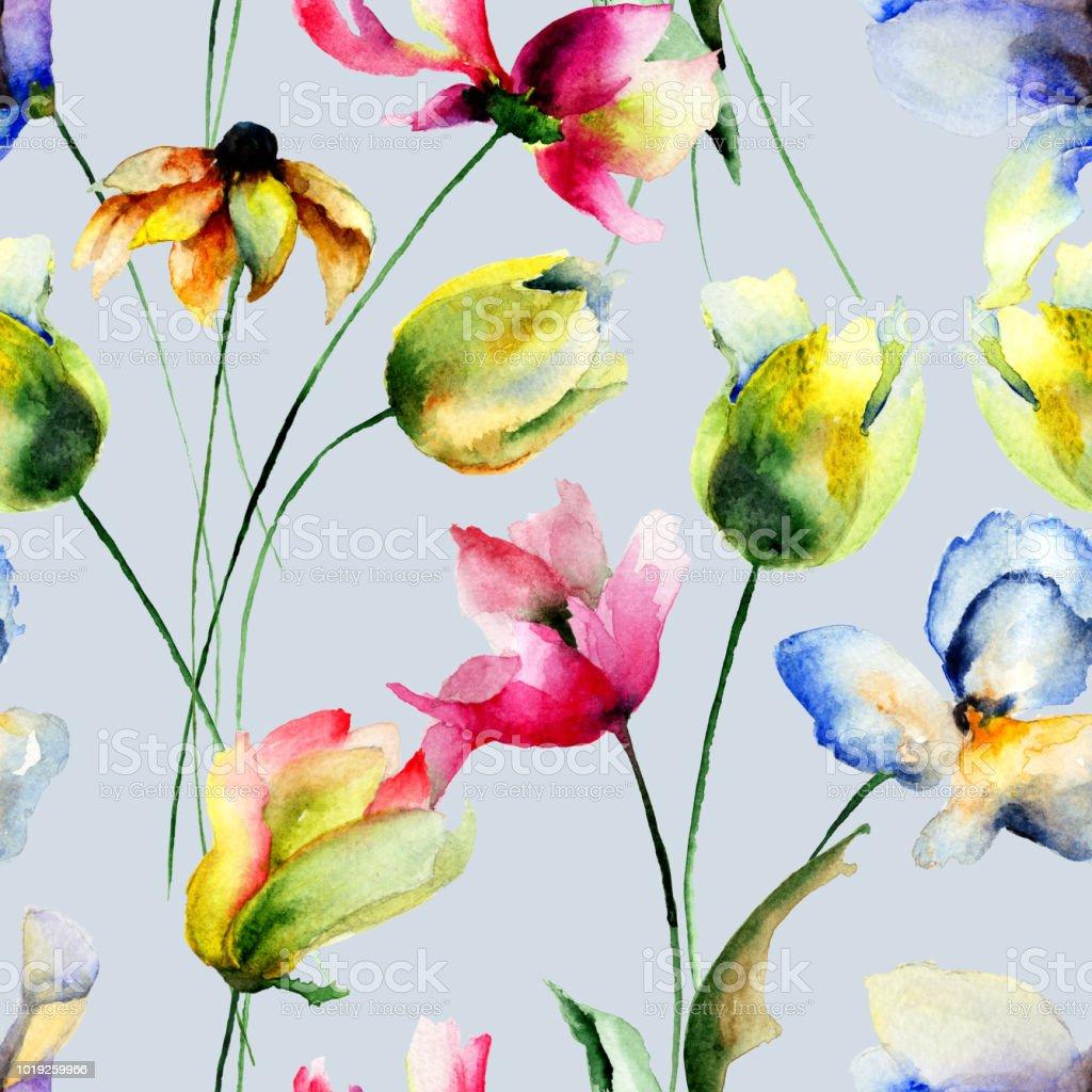 シームレスな壁紙でチューリップやガーベラの花 イラストレーション