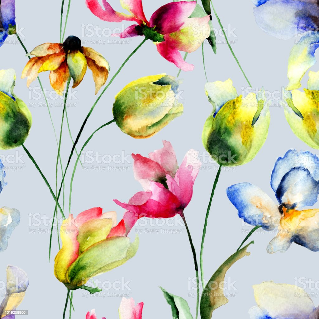 Seamless wallpaper with Tulips and Gerbera flowers vector art illustration