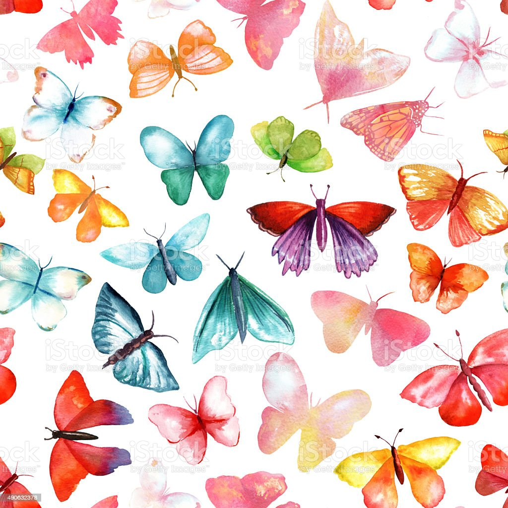Seamless watercolor butterflies background pattern vector art illustration