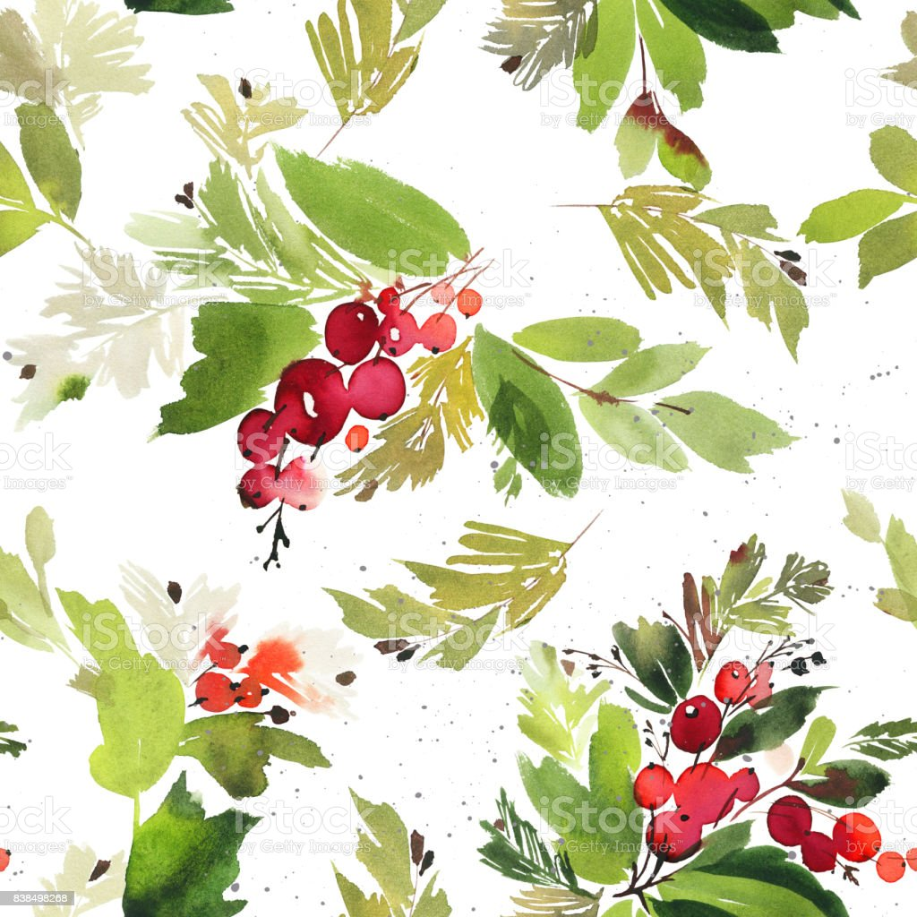 Seamless watercolor Christmas pattern with berries and spruce vector art illustration