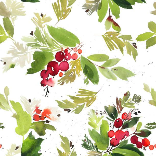 ベリーとスプルースのシームレスな水彩クリスマス パターン ベクターアートイラスト