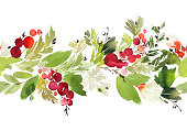 istock Seamless watercolor Christmas pattern with berries and spruce 865294116