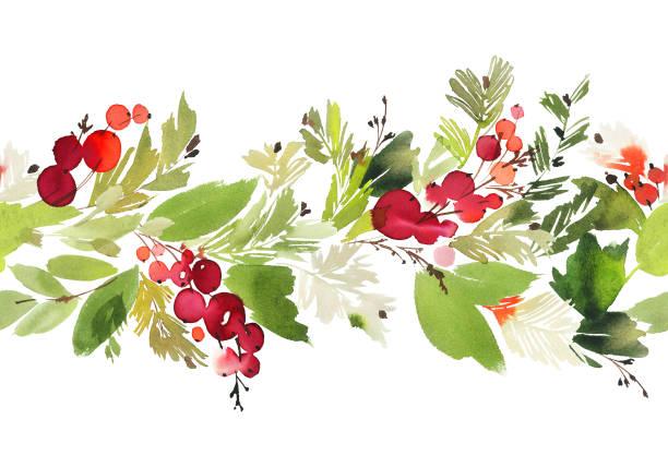 Modèle de Noël aquarelle transparente avec des baies et épinette - Illustration vectorielle