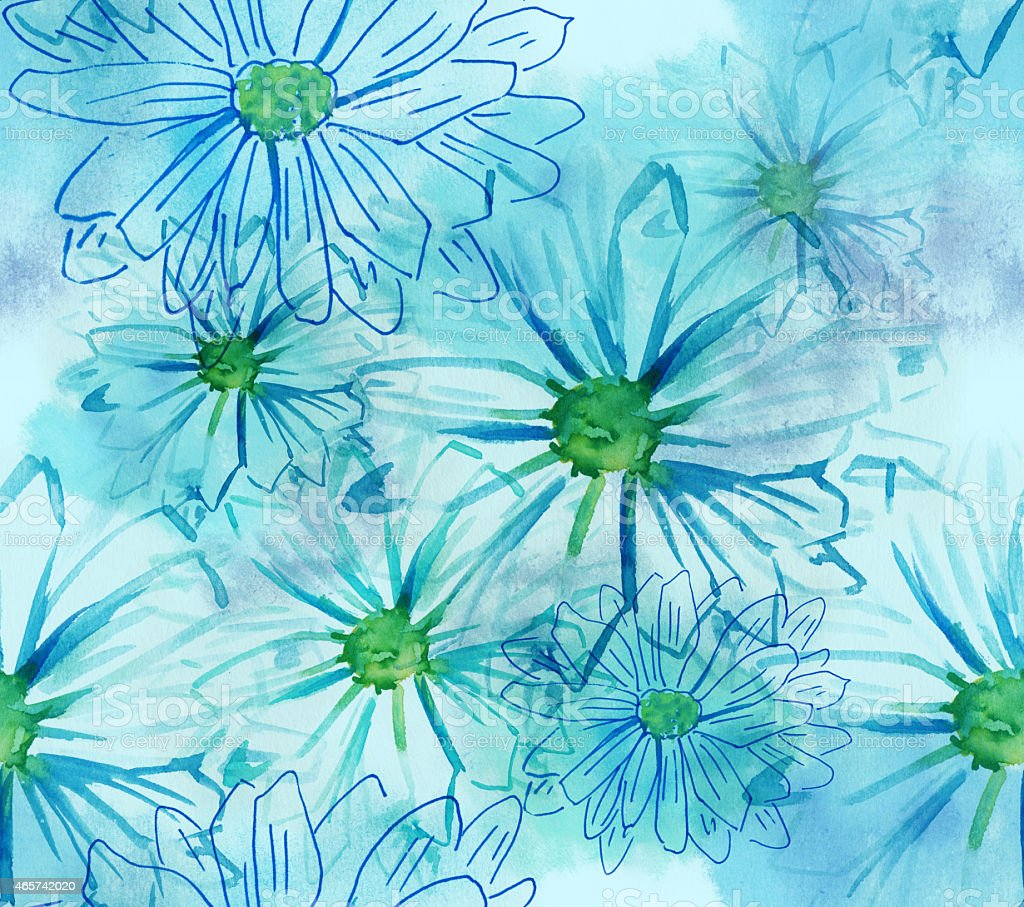 Seamless watercolor daisies pattern vector art illustration