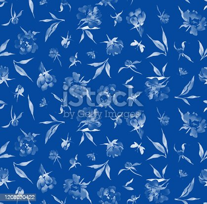 525031854 istock photo Seamless watercolor floral pattern 1208020422
