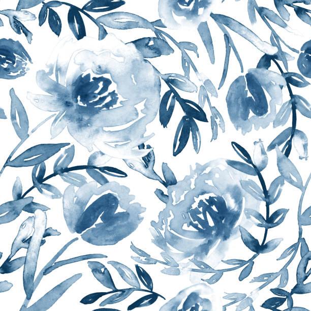 ilustraciones, imágenes clip art, dibujos animados e iconos de stock de patrón floral de acuarela sin costuras en azul y blanco. - cultura francesa
