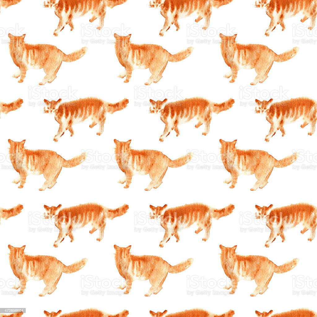Seamless watercolor ginger cats pattern vector art illustration