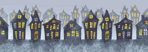 Seamless watercolor illustration of a foggy street in the night with old houses and lit windows. Halloween night. Seamless watercolor illustration of a foggy street in the night with old houses and lit windows. Halloween night. spooky halloween town stock illustrations