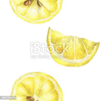Seamless watercolor illustration of lemon slice on white background