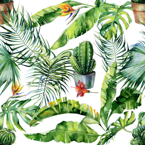 Seamless watercolor illustration of tropical leaves, dense jungle and cacti art. vector art illustration