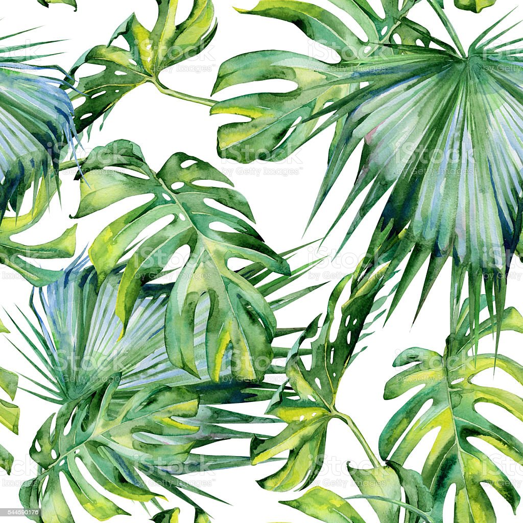Sans couture aquarelle illustration de feuilles tropicales, la jungle dense. - Illustration vectorielle
