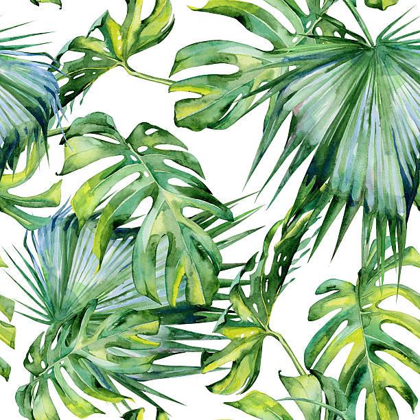 シームレスな水彩のイラストレーション熱帯の葉が生い茂るジャングルです。 - 葉のテクスチャ点のイラスト素材/クリップアート素材/マンガ素材/アイコン素材
