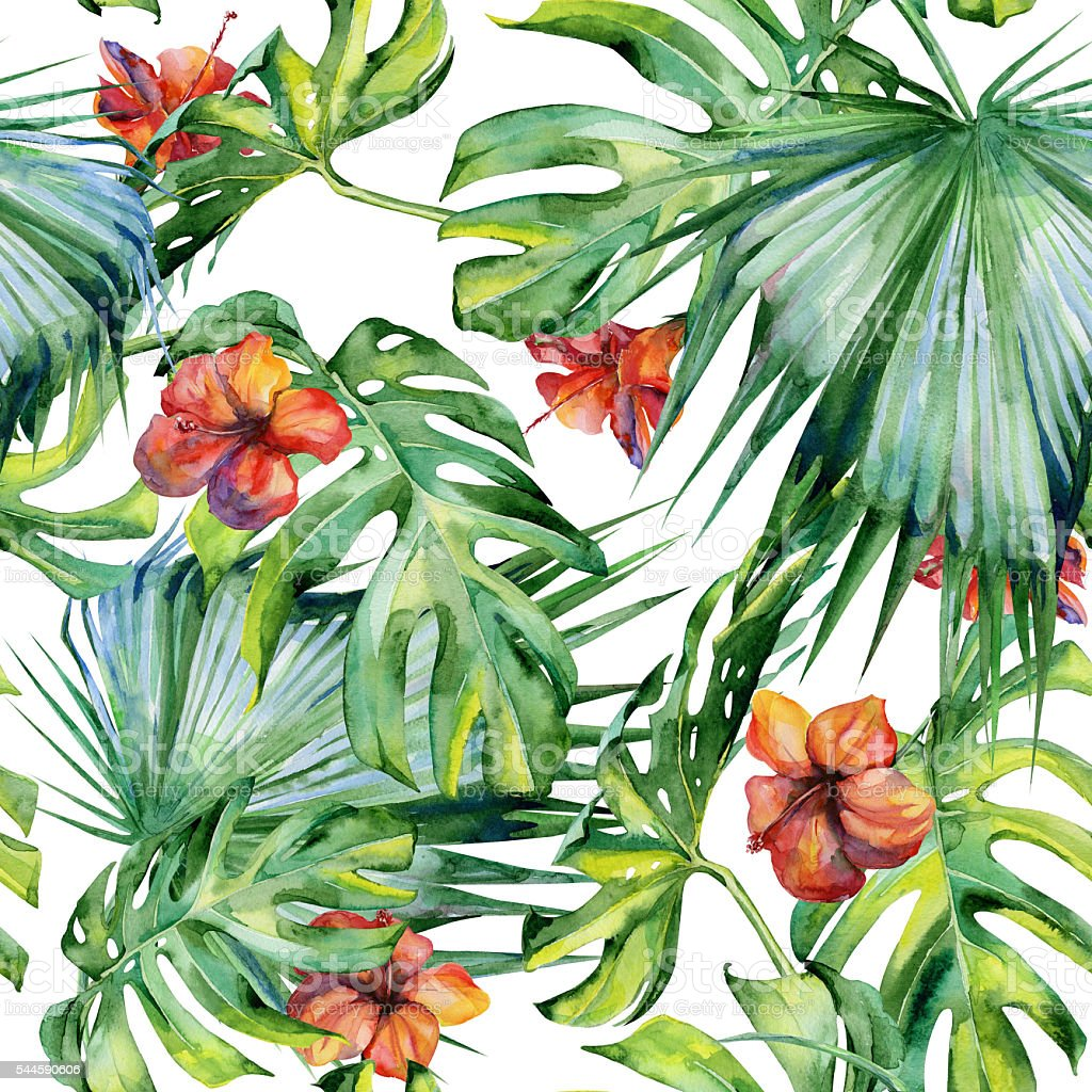 Seamless watercolor illustration of tropical leaves, dense jungle. vector art illustration