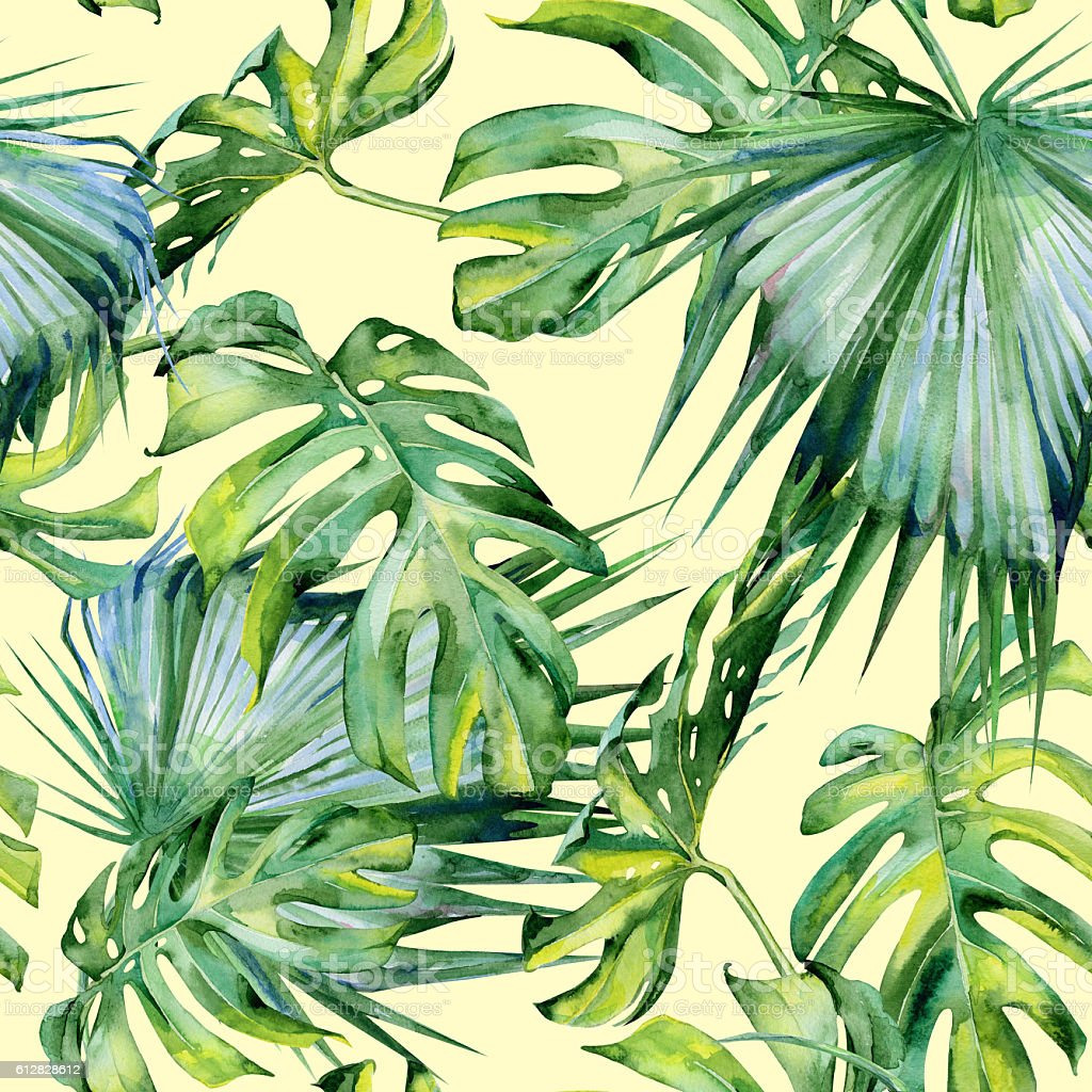 Seamless watercolor illustration of tropical leaves, dense jungle - ilustración de arte vectorial