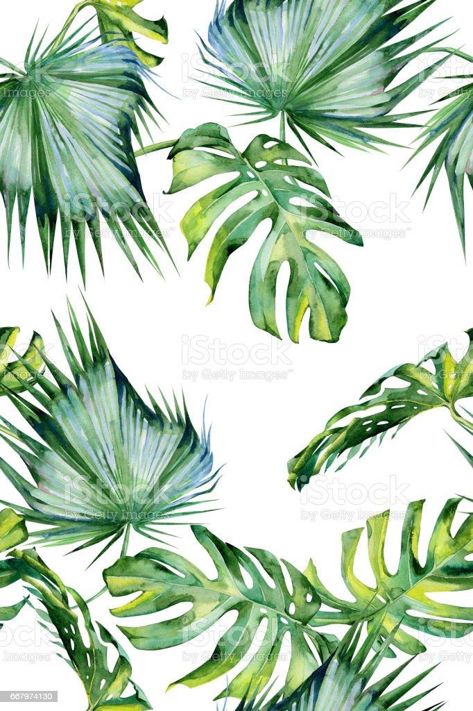 Sans couture aquarelle illustration de feuilles tropicales, la jungle dense. - Illustration vectorielle